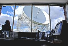 Jodrell Bank radio telescope control room. Jodrell Bank MKI Lovell radio telescope viewed from the control room Royalty Free Stock Photos