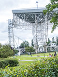 Jodrell Bank Radio telescope in the rural countryside of Cheshire England. Jodrell Bank Radio Telescope is a British observatory that hosts a number of radio Stock Photography