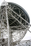 Jodrell bank radiotelescope. Radiotelescope dish from behind showing steel support Stock Photos