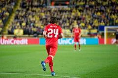 Joe Allen-spelen bij de Europa gelijke van de Ligahalve finale tussen Villarreal CF en Liverpool FC Stock Afbeelding