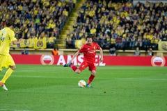 Joe Allen-spelen bij de Europa gelijke van de Ligahalve finale tussen Villarreal CF en Liverpool FC Stock Foto's