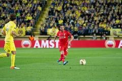 Joe Allen-spelen bij de Europa gelijke van de Ligahalve finale tussen Villarreal CF en Liverpool FC Royalty-vrije Stock Afbeeldingen