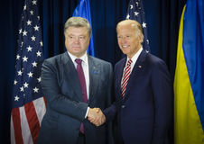 Joe Biden and Petro Poroshenko Stock Photos