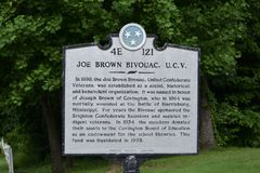 Joe Brown Bivouac Historial Marker Royaltyfri Foto