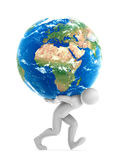 Joe Carrying Earth. Human character carrying All The World. Clipping path included Stock Photo