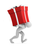 Joe Carrying Gift. Human character carrying the big red gift. Clipping path included Stock Photo