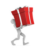 Joe Carrying Gift. Human character carrying the big red gift. Clipping path included Royalty Free Stock Photography