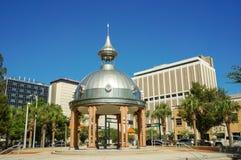 Joe Chillura Courthouse Square, metallic dome, Tampa, Florida. People walking through Joe Chillura Courthouse Square, metallic dome, Tampa, Florida, United Stock Image