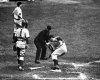 Joe DiMaggio steps on Homeplate. Royalty Free Stock Photos