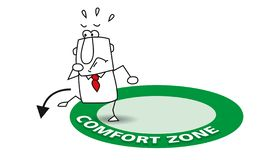 Go out his comfort zone. Joe is going out his comfort zone. It is a metaphore in coaching vector illustration