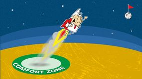 Go out the comfort zone. Joe is going out his comfort zone with a rocket. It is a metaphore in coaching royalty free illustration
