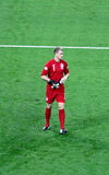 Joe Hart - England goalie. Entrance of Joe Hart, Man City goalkeeper, playing in the match England-San Marino, valid for the World Cup Qualification at Wembley Royalty Free Stock Photos