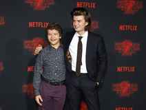 Joe Keery and Gaten Matarazzo. At the Netflix`s season 2 premiere of `Stranger Things` held at the Regency Village Theatre in Westwood, USA on October 26, 2017 Stock Images