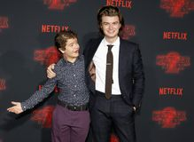 Joe Keery and Gaten Matarazzo. At the Netflix`s season 2 premiere of `Stranger Things` held at the Regency Village Theatre in Westwood, USA on October 26, 2017 Royalty Free Stock Images