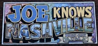 Joe Knows Nashville väggmålning Fotografering för Bildbyråer