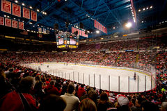 Joe Louis Arena. A wide angle view of Detroit's Joe Louis arena during an NHL hockey game Stock Photography