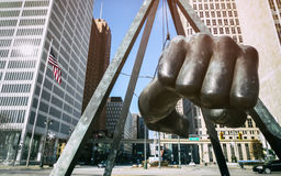 Joe Louis Fist Monument Detroit. The Monument to Joe Louis, known also as `The Fist`, a memorial to the boxer at Detroit`s Hart Plaza Stock Photo