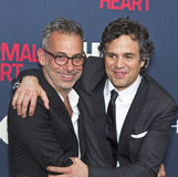 "Joe Mantello and Mark Ruffalo. Actors Joe Mantello and Mark Ruffalo arrive on the red carpet for the New York premiere of ""The Normal Heart, "" at the Stock Photography"