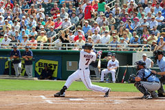 Joe Mauer Swings Away. Mauer is an American professional baseball player. He has played as a catcher and first baseman for the Minnesota Twins in Major League Royalty Free Stock Photos