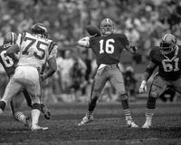Joe Montana. San Francisco 49ers QB Joe Montana #16. (Image taken from the B&W negative Stock Image