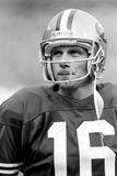 Joe Montana. San Francisco 49ers QB Joe Montana, #16.  (Image taken from B&W negative Royalty Free Stock Photo