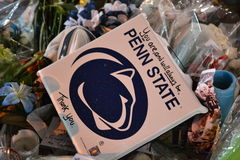 Joe Paterno Vigil at the Statue. Joe Paterno statue/vigil after health problems occurred Royalty Free Stock Photography