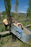Joe Rancher. Takes a break relaxing at a Taos New Mexico Spa. See others in this  series stock photo