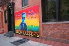 Joe Strummer Mural. A mural in the East Village of New York in honor of Joe Strummer, the lead vocalist of The Clash Stock Photo