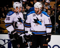 Joe Thornton en Dany Heatley, San Jose Sharks Stock Fotografie
