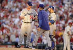 Joe Torre Chad Billingsley Stock Image