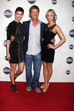 Joel Gretsch,Laura Vandervoort,Morena Baccarin. LOS ANGELES - JAN 10:  Morena Baccarin, Joel Gretsch, Laura Vandervoort arrives at the Disney ABC Television Royalty Free Stock Photography