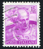 Joel. ITALY - CIRCA 1961: stamp printed by Italy, shows Designs from Sistine Chapel by Michelangelo, Joel, circa 1961 Stock Photos