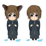 Joelhos de Cat Ears Girl Crying Hug Ilustração do vetor Isolado no fundo branco ilustração royalty free