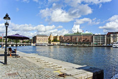 Joenkoeping at the harbor with old historic facades Royalty Free Stock Photography