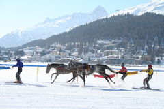 joering的joring的种族滑雪 免版税库存图片