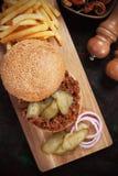 Joes descuidados, bocadillo de la hamburguesa de la carne picada Fotografía de archivo