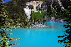 Joffre Lakes. View with a mountain backdrop from hiking trail royalty free stock photos