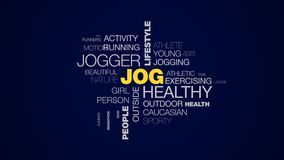 Jog healthy jogger lifestyle fitness sport exercise runner female people training animated word cloud background in uhd
