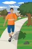 A Jog through the Park. An adolescent enjoying a morning jog through the park Royalty Free Stock Images