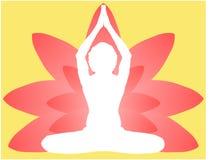 Joga dnia medytaci parvastasna pozy sztandar przeciw różowym lotosowym płatkom z pięknym gradientowym wektorowym projekta colour  ilustracji