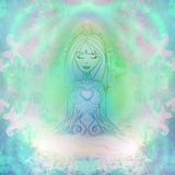 Joga duchowość i kobieta ilustracja wektor