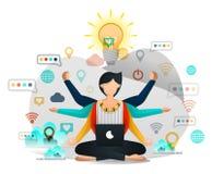 Joga i medytacja Znajdować inspirację w pracie Męski programista Szuka oświecenie w Uzupełniać Biznesowego projekt Wektorowy Illu ilustracji