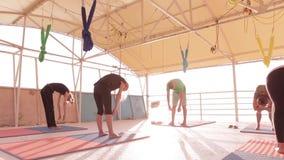 Joga klasy grupy doros?e kobiety i jeden m??czyzna praktyki joga i robi? oddycha? ?wiczeniom z instruktorem na pla?y przy zbiory