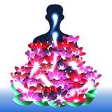 Joga lotosu ludzie jaskrawi ilustracji