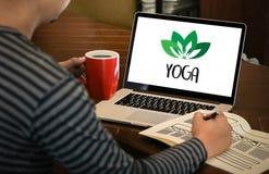 JOGA medytaci zdrowie równowagi relaksu równowagi świeża żywność Hea Zdjęcie Stock