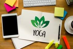 JOGA medytaci zdrowie równowagi relaksu równowagi świeża żywność Hea Obrazy Royalty Free