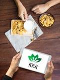JOGA medytaci zdrowie równowagi relaksu równowagi świeża żywność Hea Obraz Stock