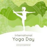 Joga plakat z kobietą w joga pozie Obraz Royalty Free