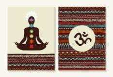 Joga pojęcia boho chakra i tła ustalone ikony ilustracji