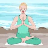 Joga poza, kobieta medytuje w lotosowej pozie, wektorowy rysunkowy portret Medytacja relaksu kreskówki dziewczyny obsiadania krzy Zdjęcia Stock